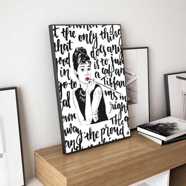 Modern Black White Audrey Hepburn Portrait Pop Movie Art Print ...
