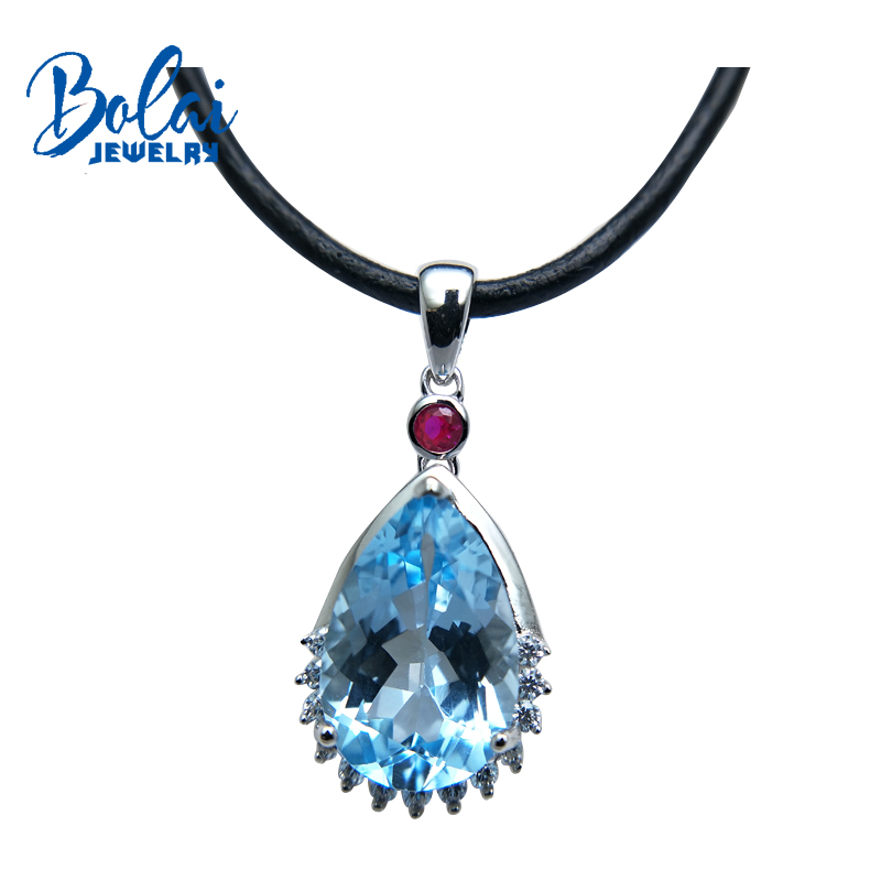 Bolaijewelry,water drop shape pendant & hide rope natural blue topaz and citrine 925 sterling silver fine jewlery for women giftBolaijewelry,water drop shape pendant & hide rope natural blue topaz and citrine 925 sterling silver fine jewlery for women gift