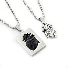 GORGEOUS TALE Human Heart Necklace Set On Rectangle Pendant Titanium Steel Hand Sculpted Heart Necklaces Women Best friend Gift цена 2017