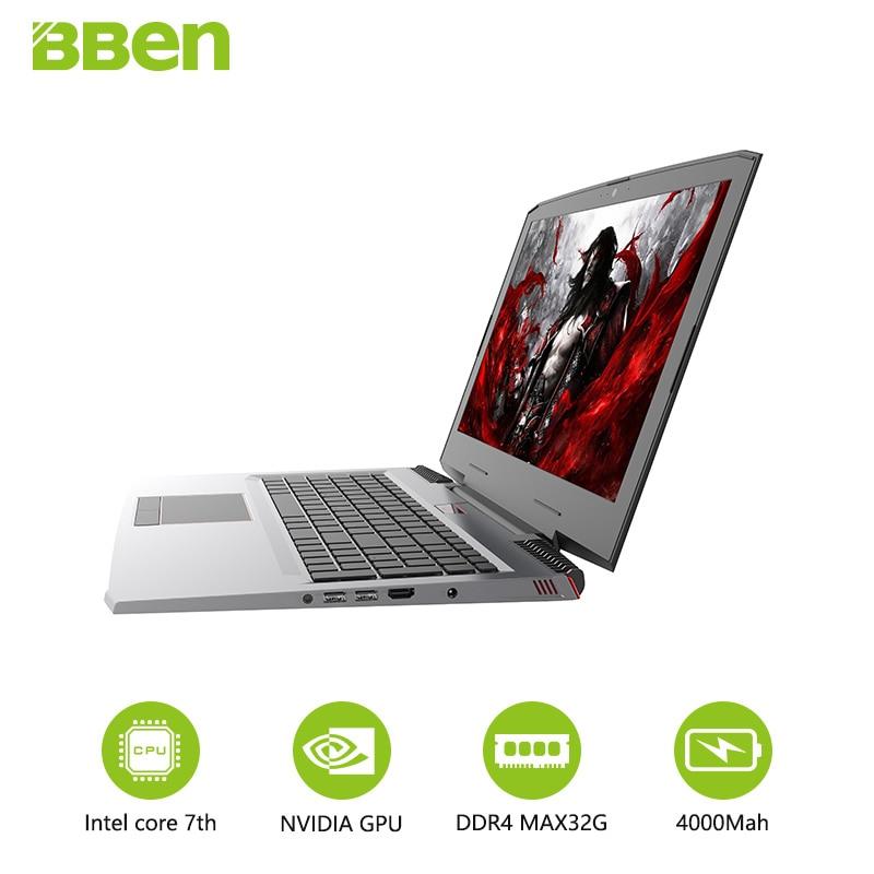 BBen laptop notebook DDR4 16GB+256GB M.2 SSD+1TB HDD Intel i7-7700hq quad cores NVIDIA GTX1060 windows10 wifi HDMI