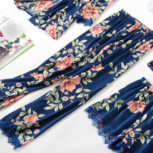 Image 4 - Fashionable Women Floral Lingerie Set Bath Robe+Cami+Shorts+Long Pants 4Pcs Pajama Set Silk Pyjamas Sleepwear Sexy Home Clothes