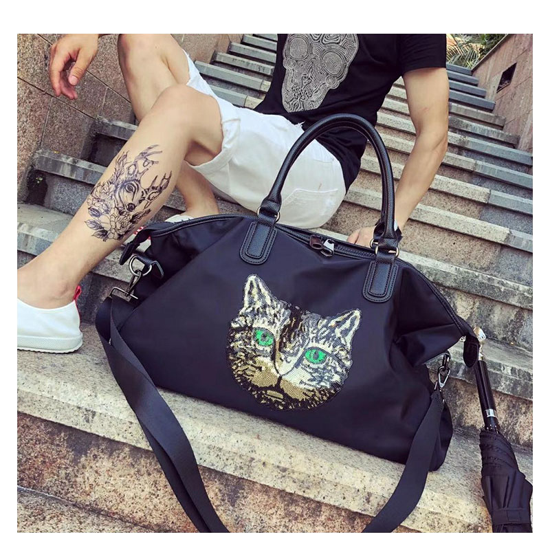 Women\'S Waterproof Oxford Cloth Handbags Korean Version Of The Short-Distance Large Capacity Cat Pattern Travel Bags