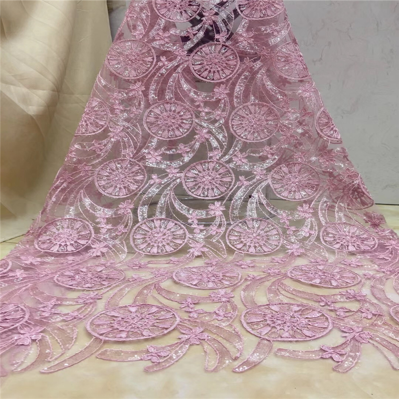 Tollola Pink African Lace Fabric 2019 High Quality Lace Pearls Embroidery Tulle Lace Fabric African Lace