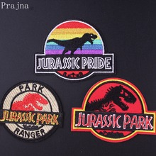 Prajna Jurassic Park Patch Anime Dinosaur S1 Embroidered Patches For Clothing Stickers Iron On Clothes Movies Parches