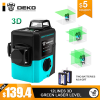 DEKO LL12 HVG 12Lines 3D Green Laser Level Self Leveling 360 degre Horizontal&Vertical Cross Powerful Outdoor can use Detector