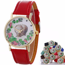 Women Creative Pattern Quartz Watch Leather Strap Belt Table Watch 2017 Luxury Brand Watch