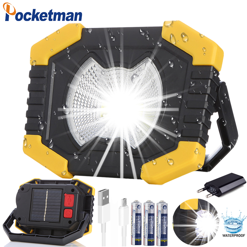 Solar Energy 180 Degrees Adjustable Portable Lanterns Built-in  Battery Light USB Rechargeable Searchlight For Camping