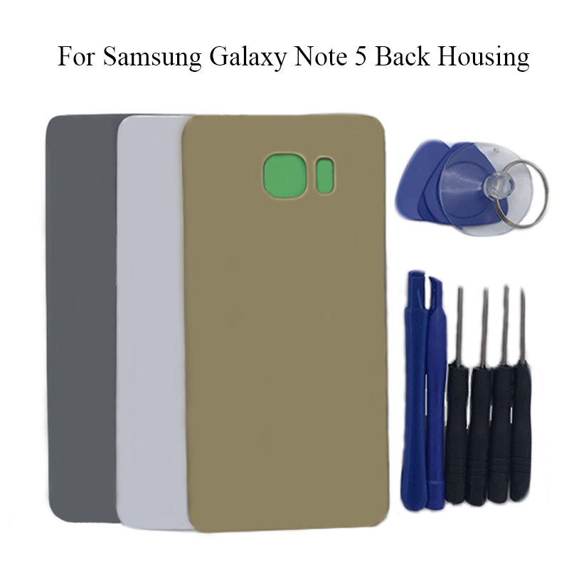 Y HOIVA Back Battery Cover Rear Door Housing Glass Case For Samsung Galaxy Note 5 Rearing housing Replacement Parts+Tools Kit|battery cover|battery replacement|battery back - title=