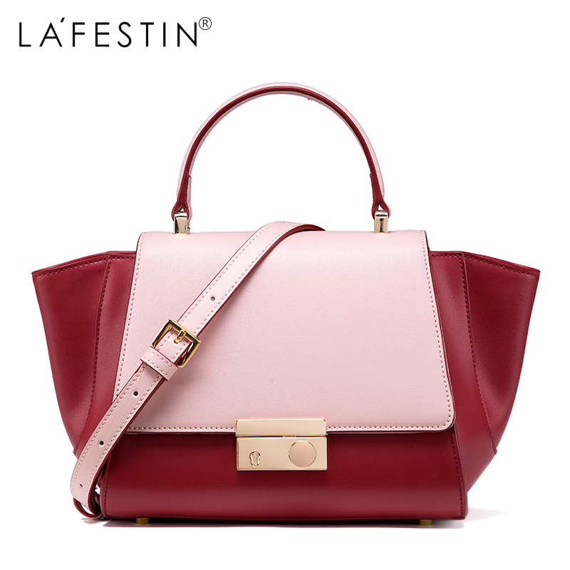 LAFESTIN Designer Handbag Luxury Patchwork Real Leather Bag 2017 Fashion Lady Tote Bags Shoulder brands Bag bolsa