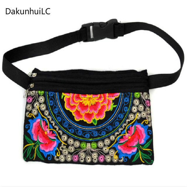 New Hot Sale Ethnic Embroidered Bag Women National Vintage Embroidery Ladies Waist Packs Women Shoulder Bag Hip Bum Belt Bag