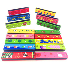 Hot-Selling Cartoon Painted Wooden Harmonica Children Musical Educational Music Toys Instrument Random Color