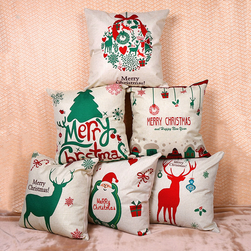Merry Christmas Flax Pillow Case Cushion Cover Pillow Covers For Sofa Seat Chair Decorative Throw Pillow Covers Cases F
