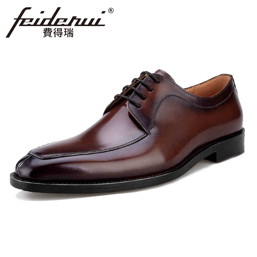 Top Quality Genuine Leather Men's Handmade Oxfords Formal Dress Round ToeMale Wedding Flats Luxury Designer Shoes For Man BQL41 top quality crocodile grain black oxfords mens dress shoes genuine leather business shoes mens formal wedding shoes