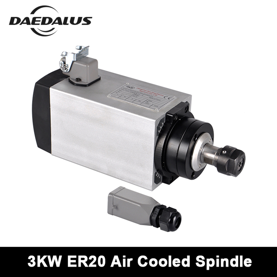 3KW CNC Spindle Motor ER20 Square Router 220V/380V Air Cooled Spindle Motor With 4 Bearings For Engraving Milling Machine Tools 3kw carving machine cnc router spindle motor ac 220v er20 100mm 220mm 24000rpm 4pcs bearings water cooling cnc spindle motor