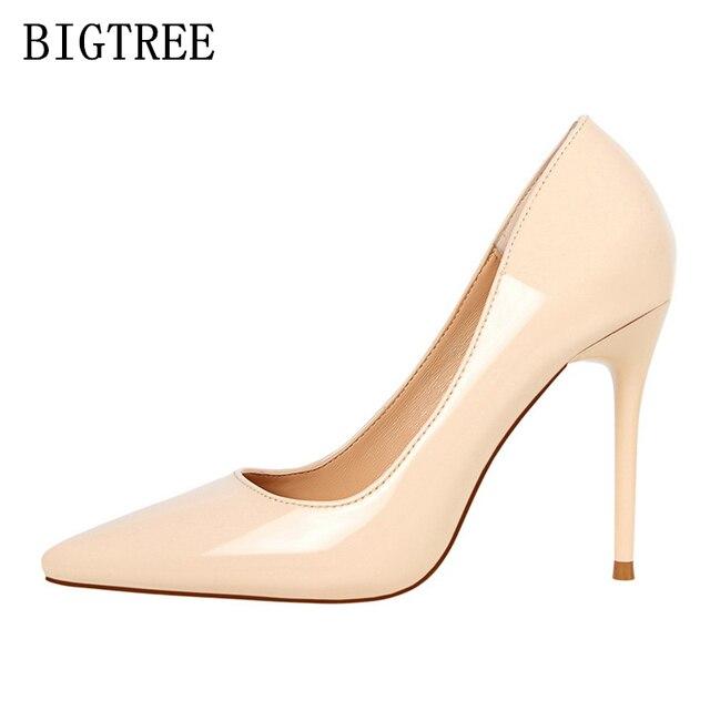 aa86ef9d4553a En cuir verni rouge extreme talons bigtree chaussures femme pompes femmes  chaussures à talons hauts chaussures