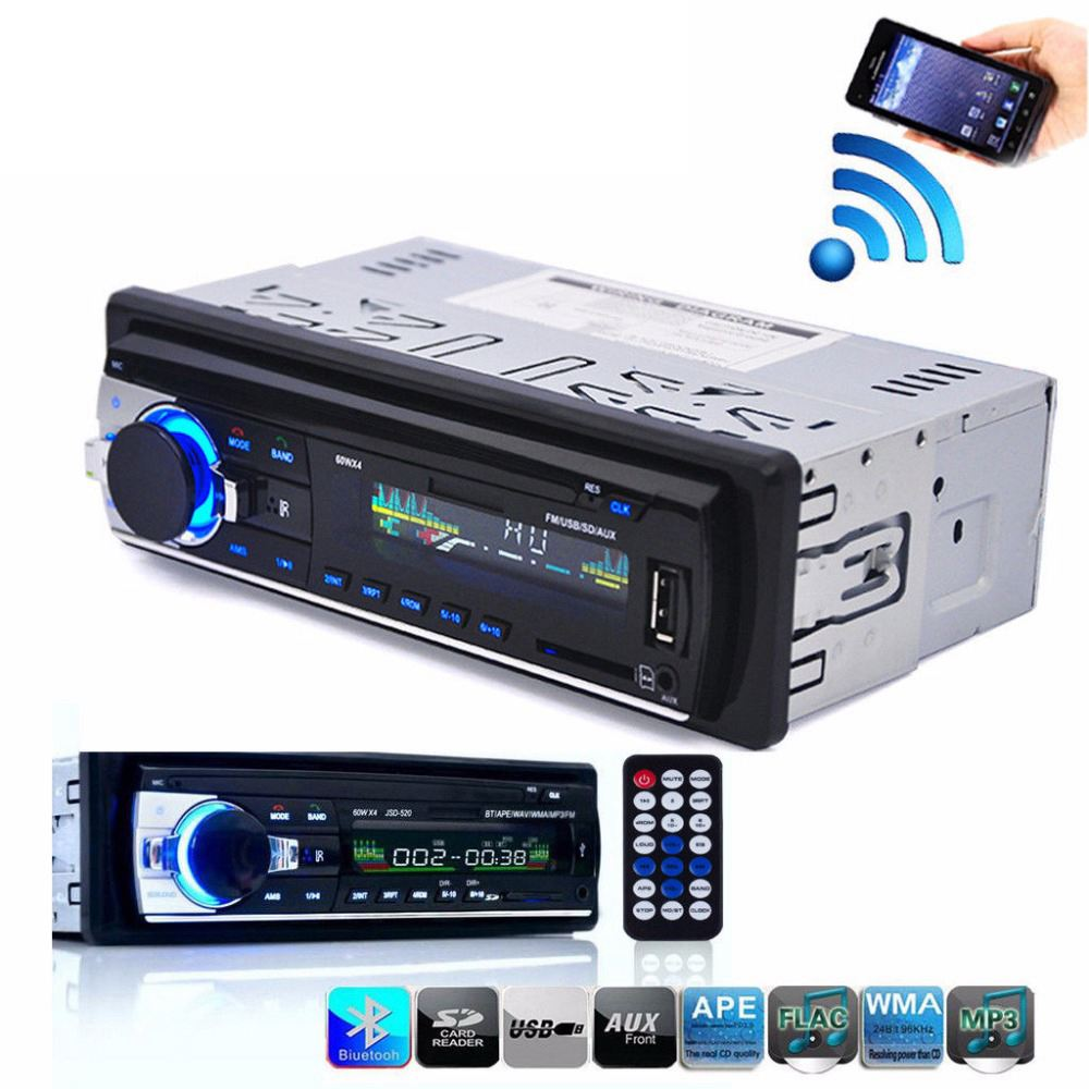 Bluetooth Stereo Audio In-Dash FM MP3 Radio Player With AUX-IN SD USB DC 12V MP3WMA Car Radio Player