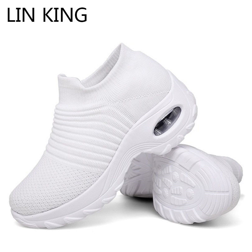 LIN KING Top Quality Big Size Breathable Women Casual Shoes Slip On Loafers Non Slip Outdoor Sports Sneakers Office Work Shoes