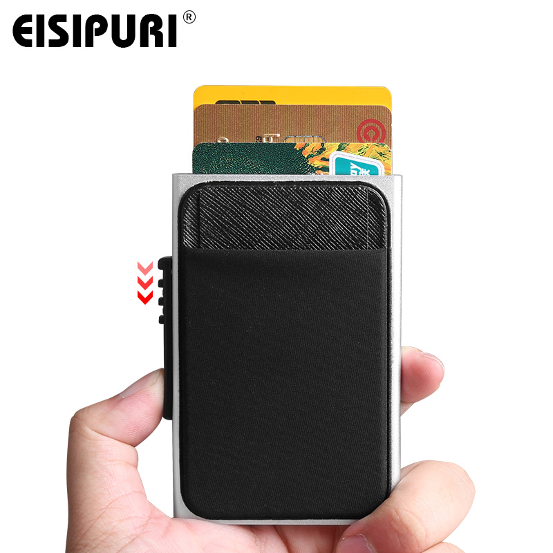 Men Aluminum Wallet With Back Pocket ID Card Holder RFID Blocking Mini Slim Metal Wallet Automatic Pop Up Credit Card