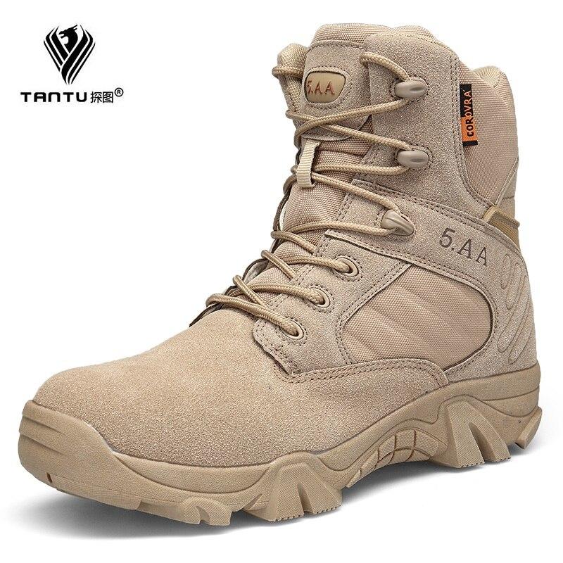 Trekking Militaire Chaussures Bottes Randonnée En Tactique Botas Armée Voyage Hommes Plein De Désert Combat sand Black Cuir Tantu Air Delta 57gBwqxTn