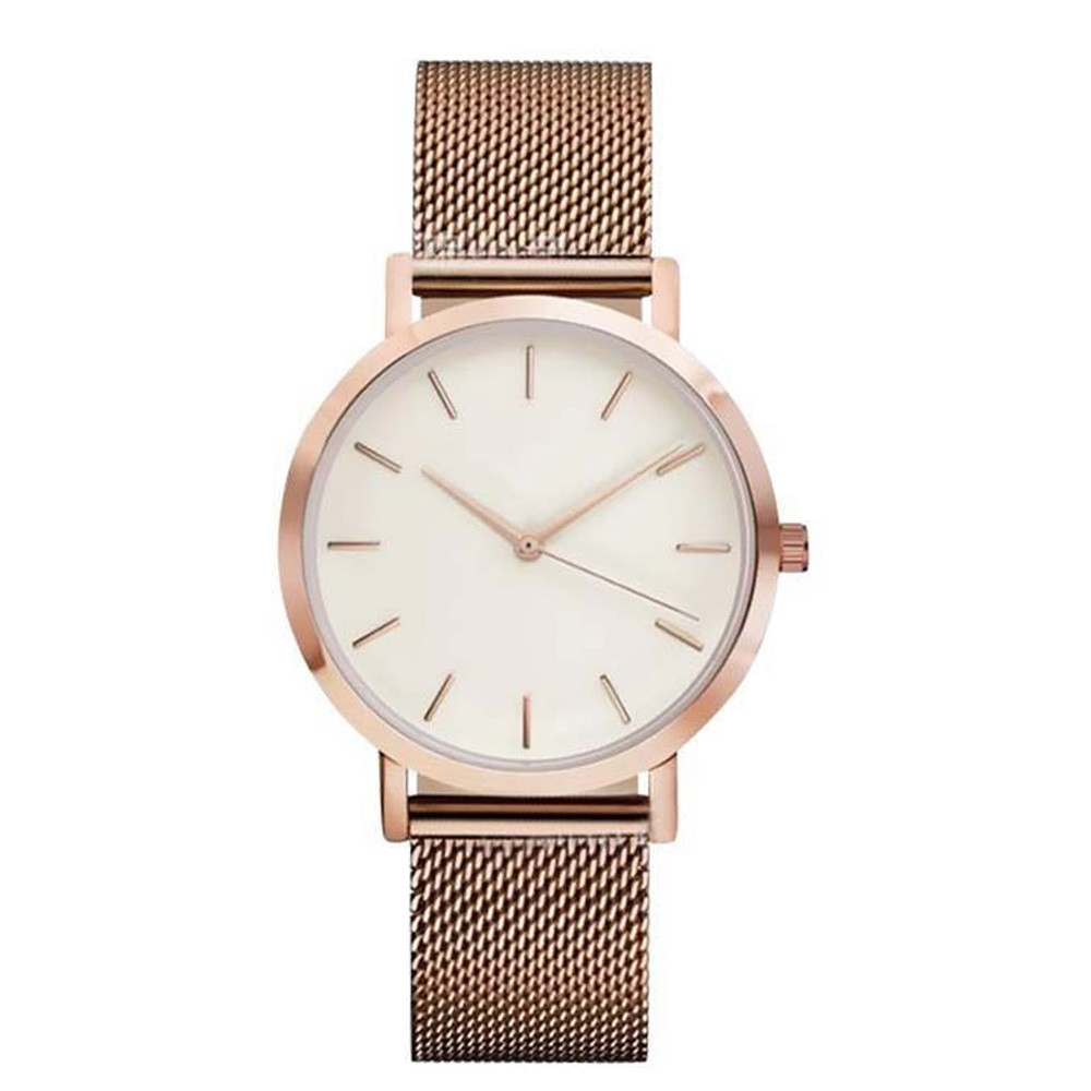 Quartz Women Watch Crystal Stainless Steel Rose Gold
