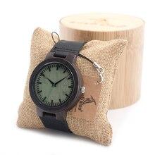 BOBO de AVES 2016 de Madera de Ébano de La Vendimia Reloj de Los Hombres Con Green Wood Dial Con Correa de Cuero Real Del Reloj Analógico En Caja de Regalo