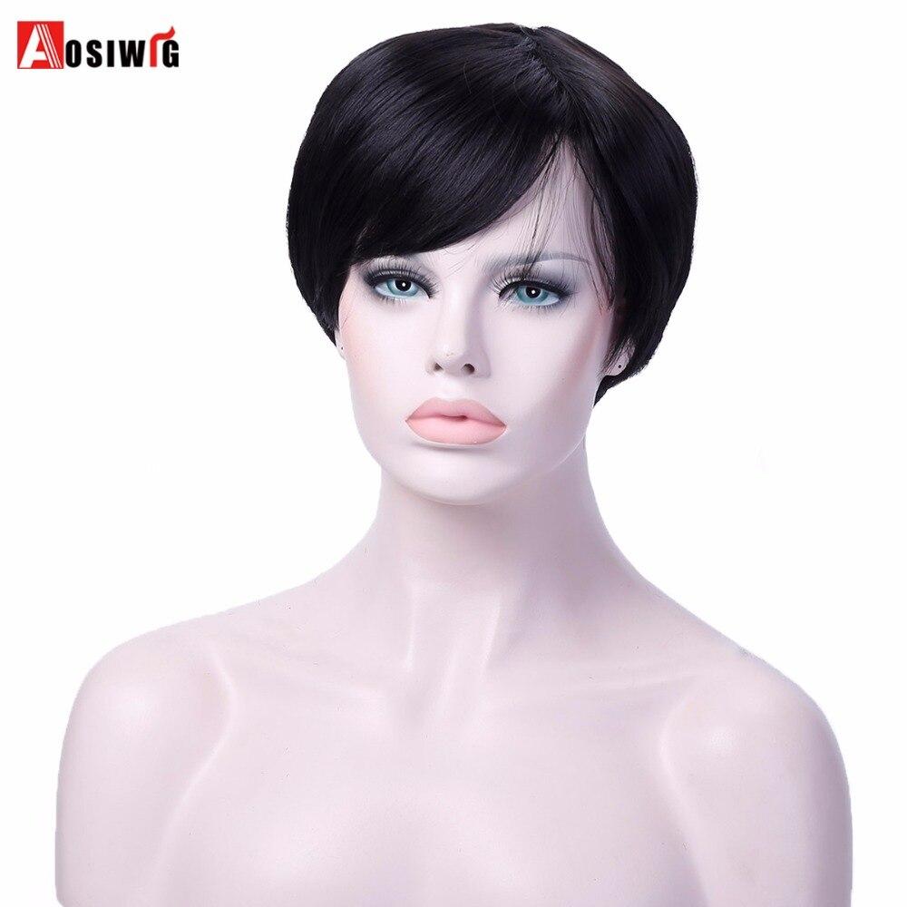 AOSIWIG Короткие высокого Температура Волокно синтетический парик жаропрочных Косплэй парики черные прямые волосы для Для женщин ...