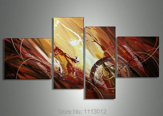Neue Moderne Bild Für Wohnzimmer Braune Linie Landschaft Brief Öl Malerei  Auf Leinwand 4 Panel Kunst