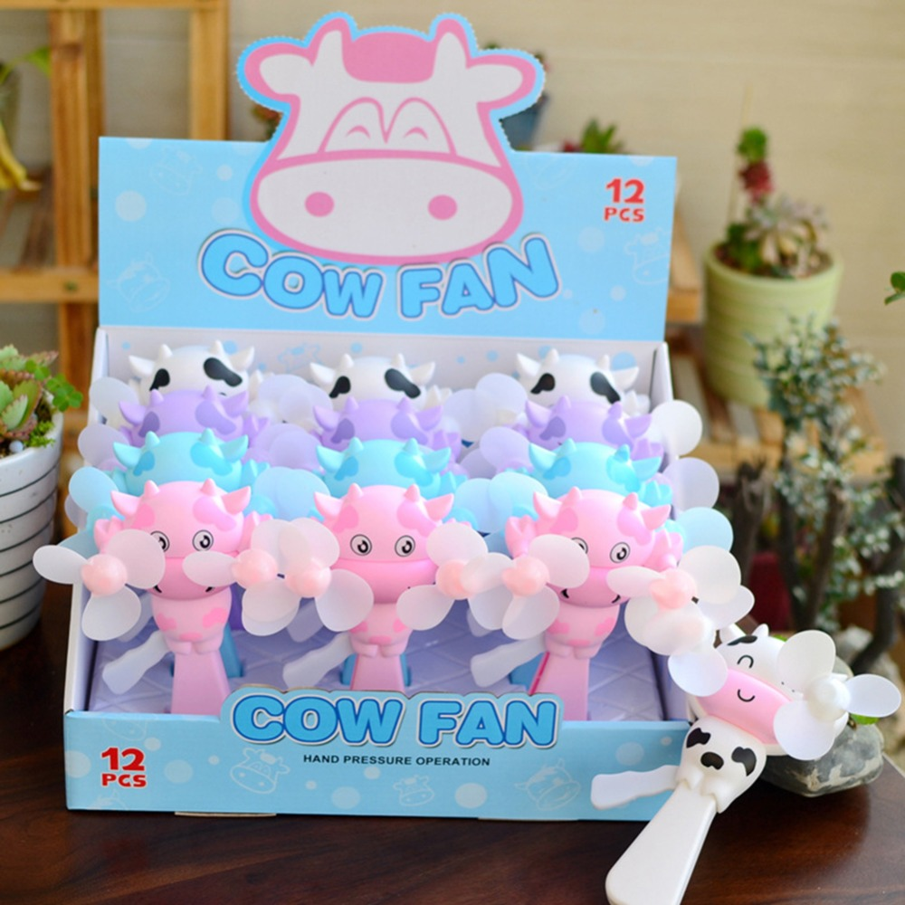 2018 new Mini Cartoon cow Fan Humidification Handheld Portable Water Mist Hand Held Desk Ventilador for Children Fan