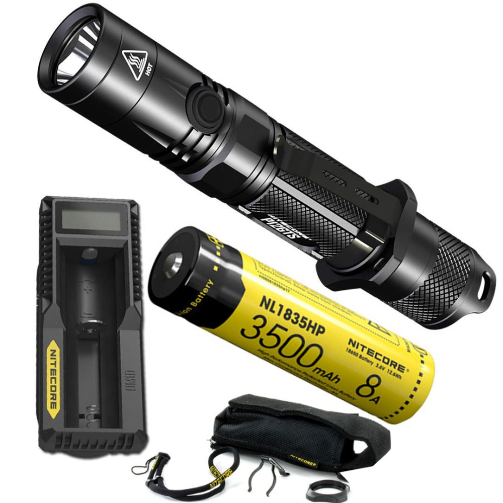 Nitecore P12GTS 1800 Lumen LED Tactical Flashlight with High Performance Rechargeable Battery and UM10 Charger, fenix hp25r 1000 lumen headlamp rechargeable led flashlight