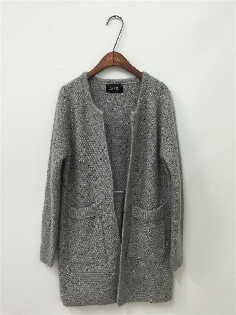 Women Korean Open Stitch Cardigan With Pockets Casual Candy Color ...
