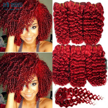 Summer hot sale Virgin kinky curly hair 6 bundles with closure curly wave Red color 8 inch short haircuts Rosa hair products