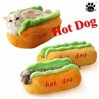 Hot Dog Bed with Cat