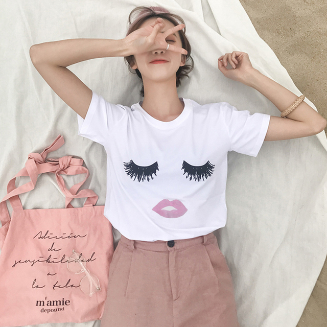 35ce22d760 US $4.99 13% OFF BANvTx20 Women T Shirt Eyelashes Red Lips Printed Loose  Female Tee Tops Summer Short Sleeve White Women Tshirts-in T-Shirts from ...