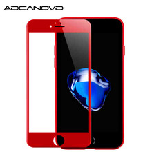 2Pcs/lot 3D full cover protective glass for iphone 7 7plus red glossy carbon fiber screen protector tempered on 6 6s plus