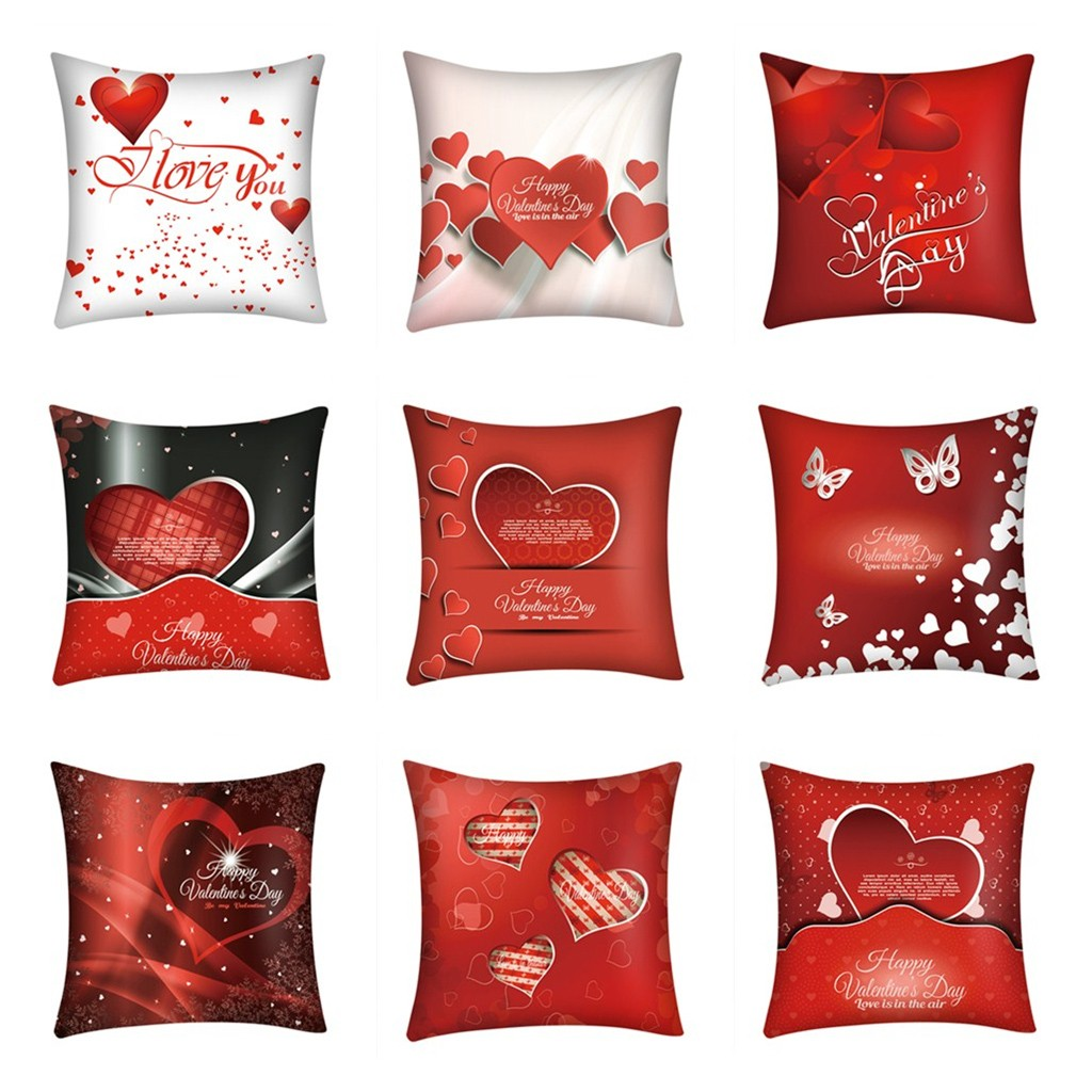Romantic Valentine's Day Polyester Cushion Cover Printed