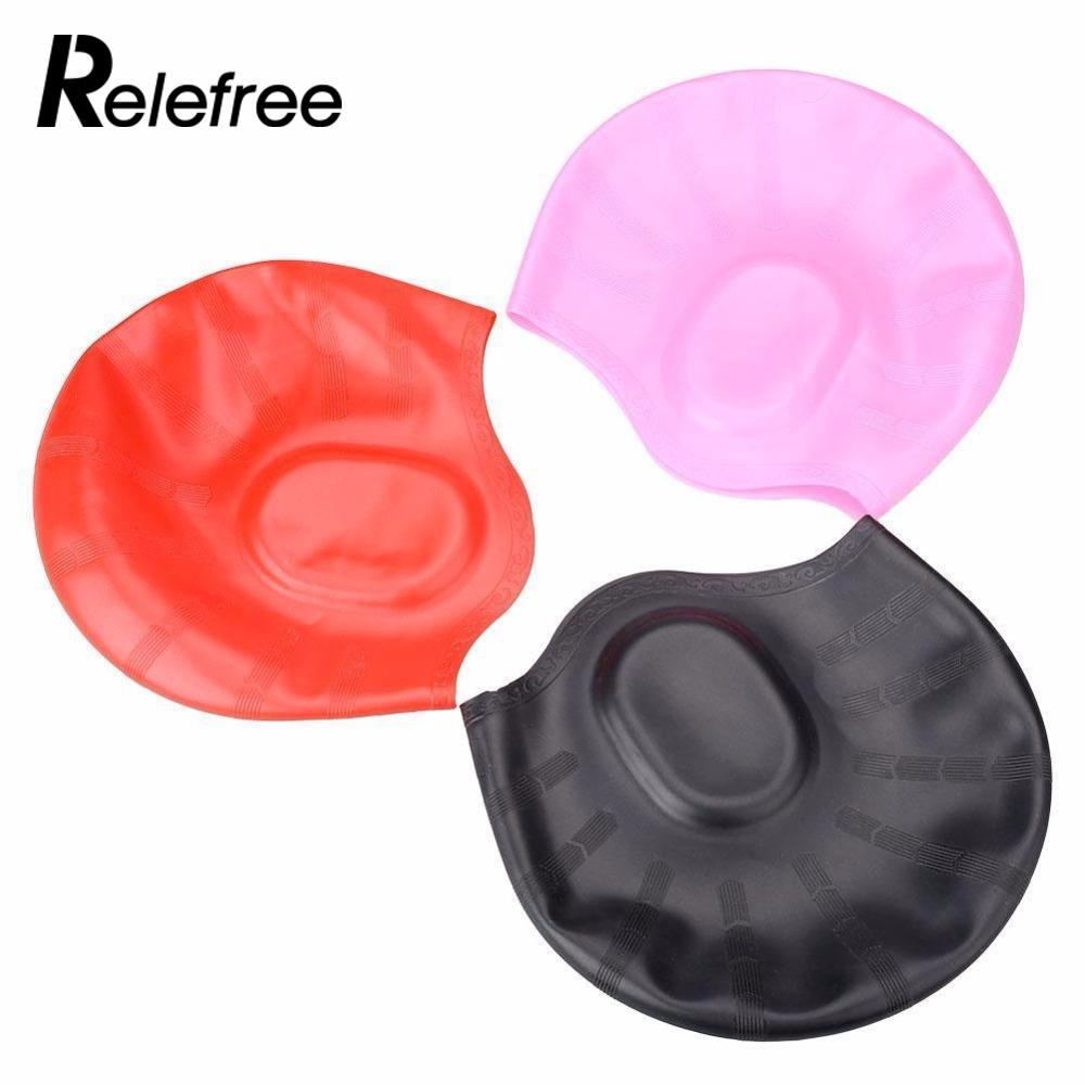 Water Sport Ear Protection Silicone Swimming Cap Long Hair Swim Elastic Stretch Hat Swimming Pool Caps