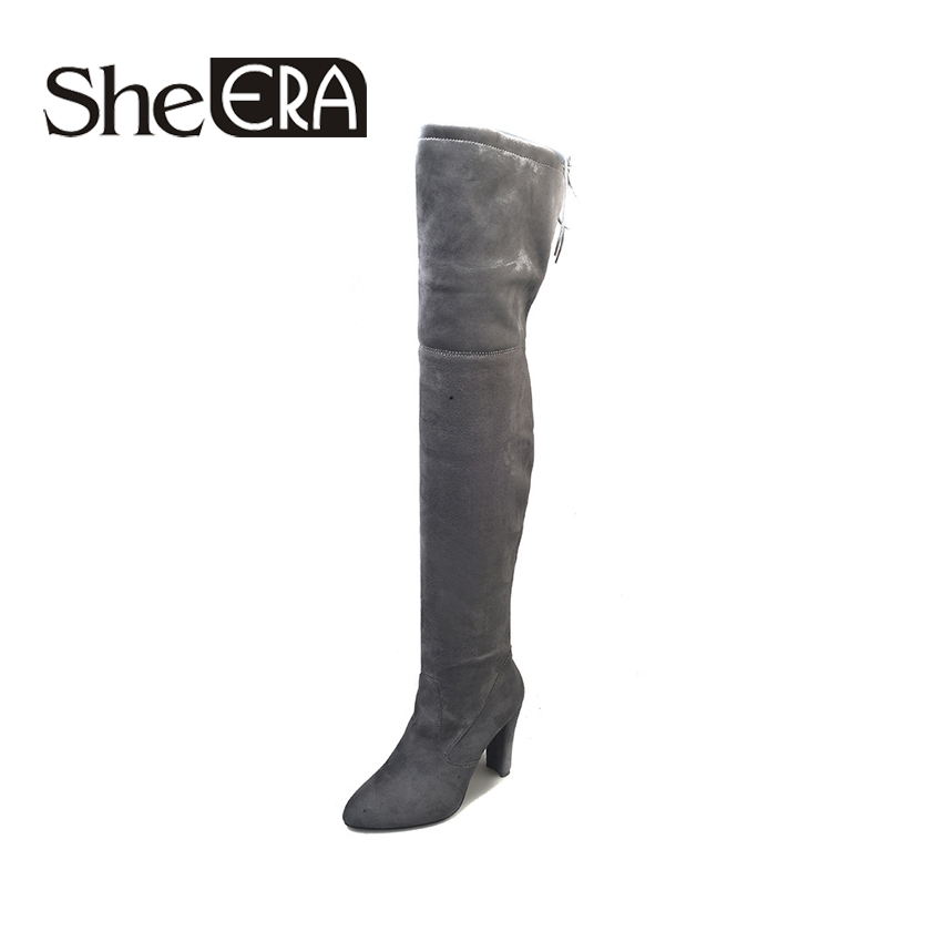 She Era 2017 Autumn Winter Women Boots Stretch Slim Thigh High Boots Fashion Over the Knee Boots High Heels Shoes Woman Sapatos