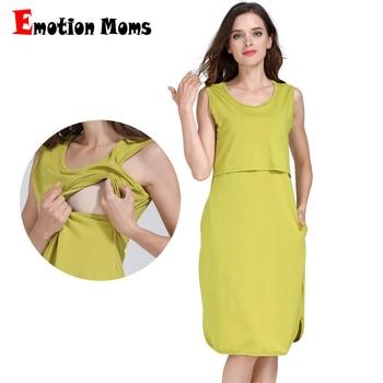 1c48eee1a La emoción de las madres de algodón de enfermería vestidos de vestido de  ropa de maternidad para las mujeres embarazadas lactancia ropa vestido  embarazada