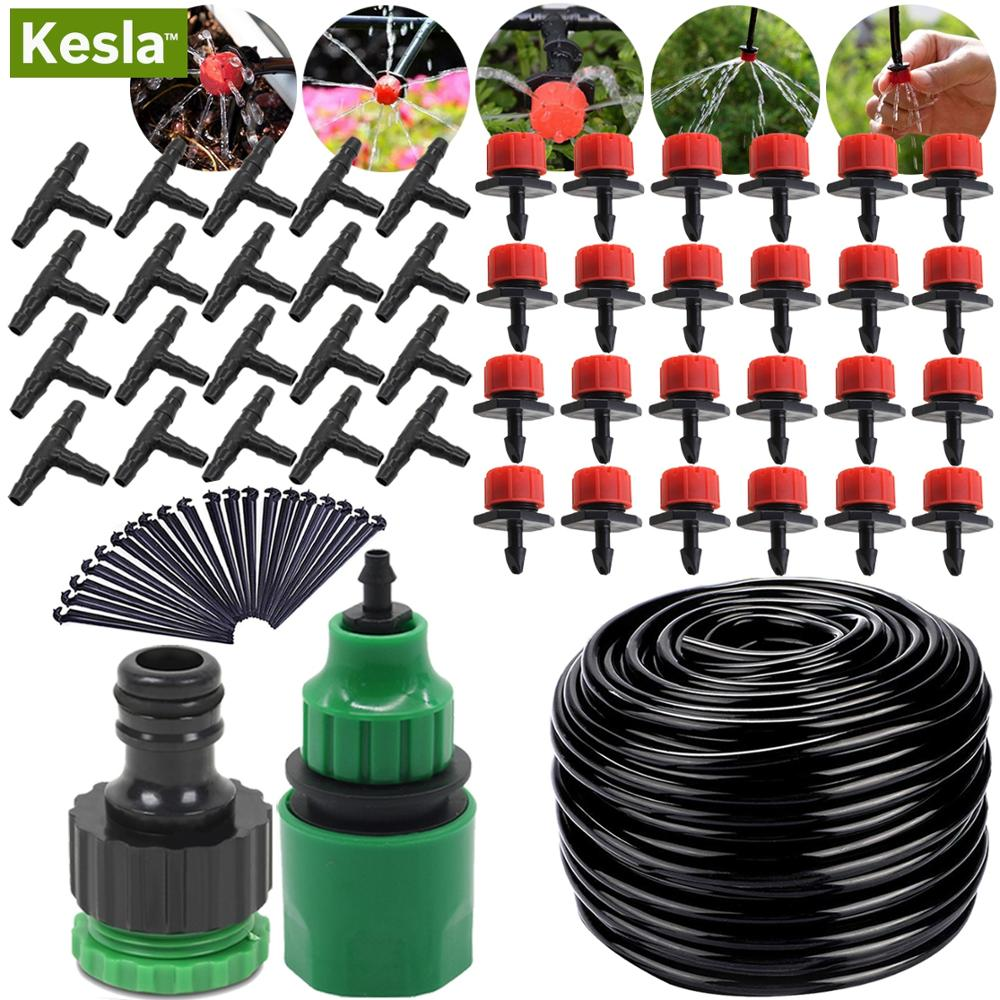 5M-30M Garden Automatic Micro Drip Irrigation Watering System Kit 4/7'' Hose & Adjustable Nozzle Mistering Dripper Greenhouses