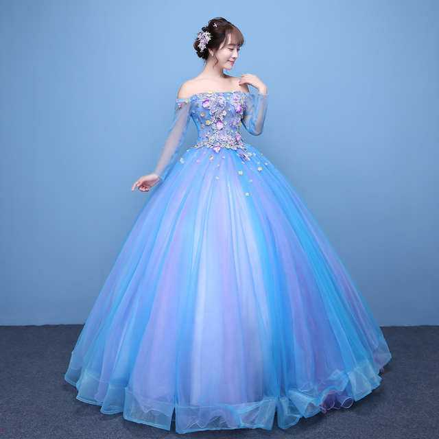 3687806e8c Gorgeous Blue Tulle Applique Lace Strapless Long Sleeves Ball Gown  Quinceanera Dresses 15 Years Party Lace Back Girls Gowns