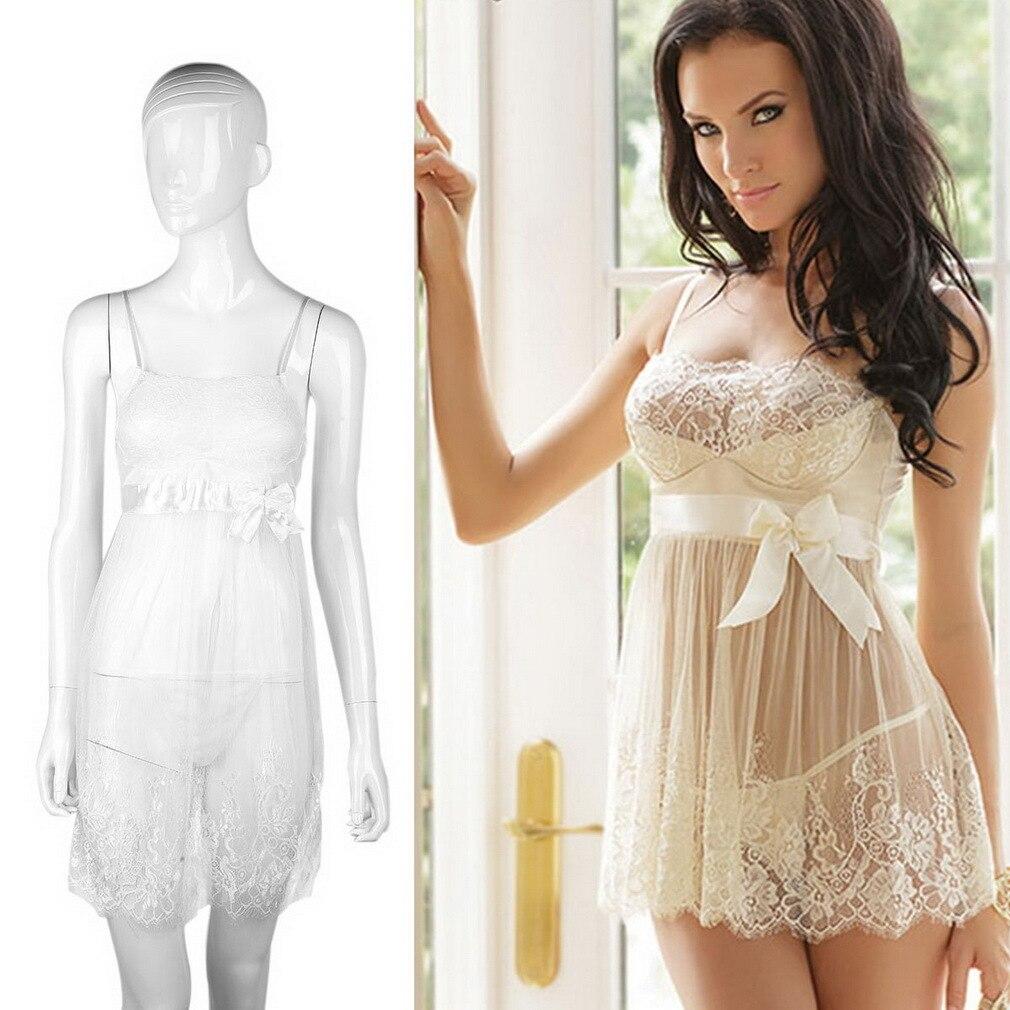 ca1c4b4b0 Mulheres Sexy Lace Branco Lingerie Vestido Solto Perspectiva Lingerie  vestido Roupa Babydoll Sleepwear + G-corda do sono saudável