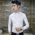 Korean Fashion Brand Designer Diamond Designer Men's Slim Fit Shirt Mens Casual Shirts Long Sleeve 2016 Dress White Shirt Men