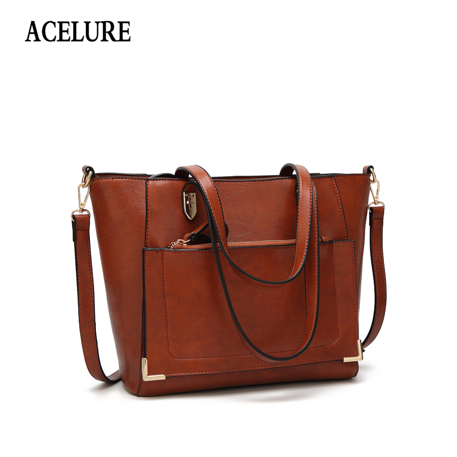 ACELURE Vintage Women Shoulder Bags PU Leather Handbag Female Large Tote Handbags Business Women Crossbody Bag For Women bolsas