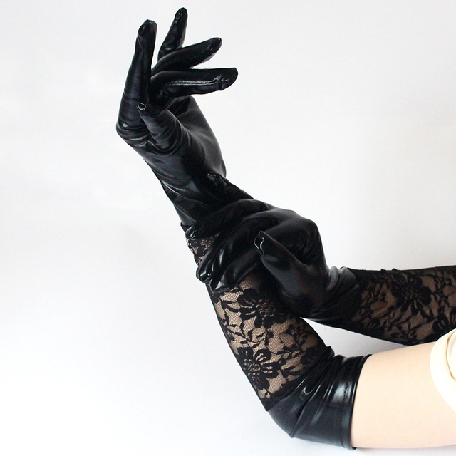 eb0c47a17 1Pair Women Fashion Patchwork Lace Faux Long Leather Gloves Black Ladies  Sexy Elbow Length Mittens Adults