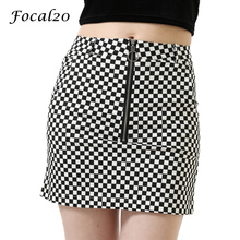 Focal20 Vintage England Style Women Plaid Skirt Circle Ring Zipper Bodycon Mini Skirt with Pocket