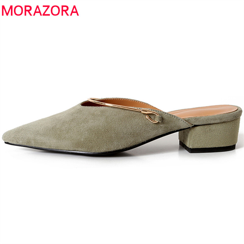 MORAZORA 2018 new arrive women sumps spring summer top quality suede leather fashion pointed toe size 34-39 shallow shoes new fashion woman flats spring summer women shoes top quality strappy women sandals suede pointed toe gladiator ballet pumps