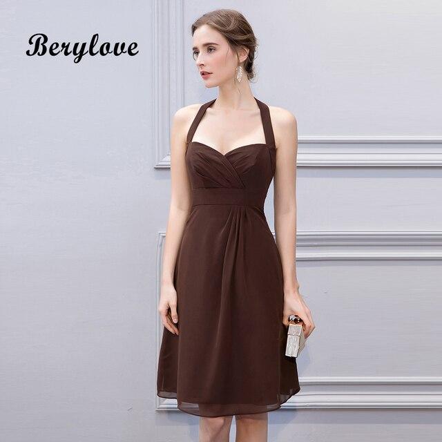 BeryLove Simple Brown Knee Length Short Bridesmaid Dresses Halter Backless Bridesmaid Gowns Chiffon Plus Wedding Party Dresses