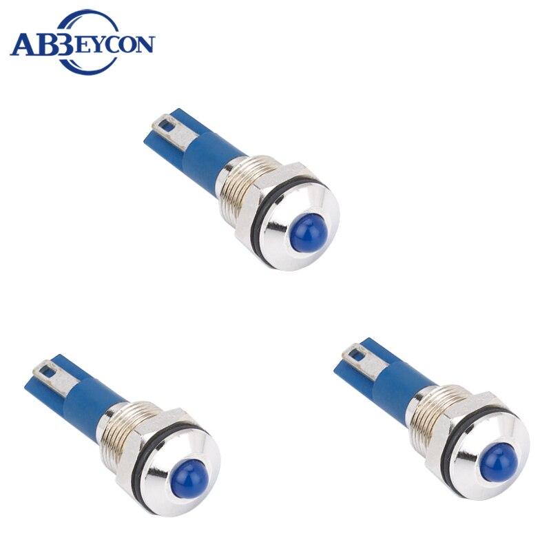 ABBEYCON 10mm metal pilot light pin terminal waterproof indicator lights 2V/3V/6V/12V/24V/36V/110V/220V
