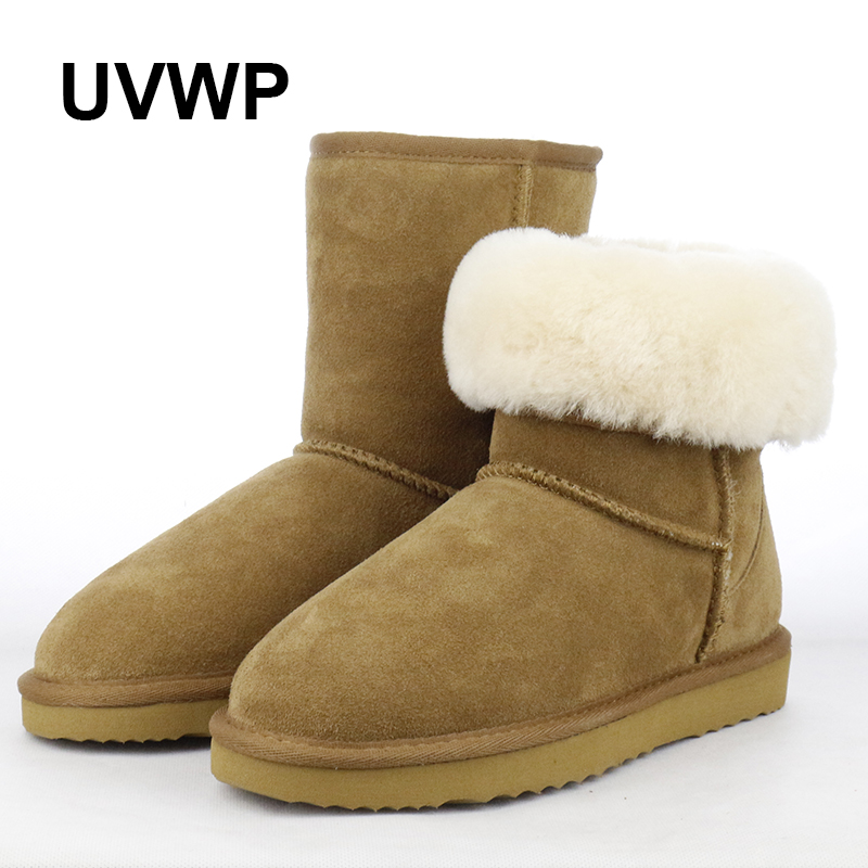 UVWP Free Shipping Classic Waterproof Genuine Cowhide Leather Snow Boots Wool Women Boots Warm Winter Shoes