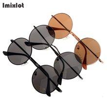 Imixlot Fashion Sunglasses Women Men Brand Designer Glasses Summer Vintage Alloy Frame Round Sun Glasses Oculos De Sol Femininos